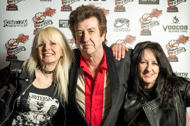Jackie Chambers & Kim McAuliffe from Girlschool with Vive editor Eugene Butcher